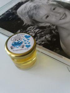 pot de miel baptême, pot de miel baptême personnalisé, petit pot de miel baptême